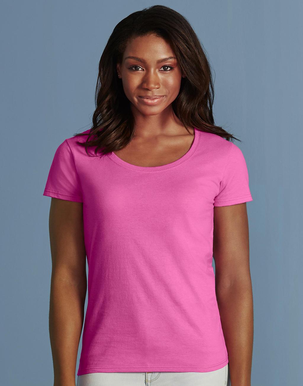 64550L SOFTSTYLE® LADIES tričko s výstrihom