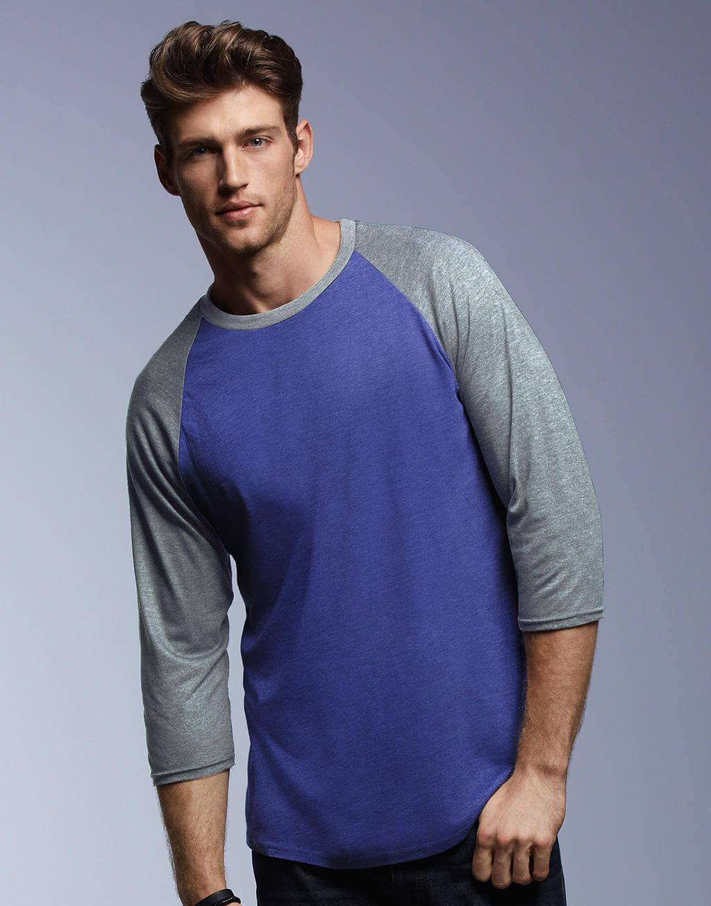 6755 Pánske tričko Tri-Blend s 3/4 raglanovými rukávmi