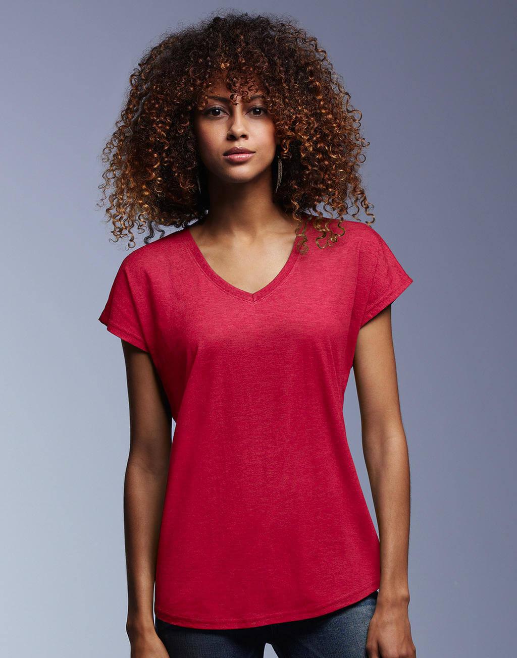 6750VL Dámske tričko Tri-Blend s V-výstrihom