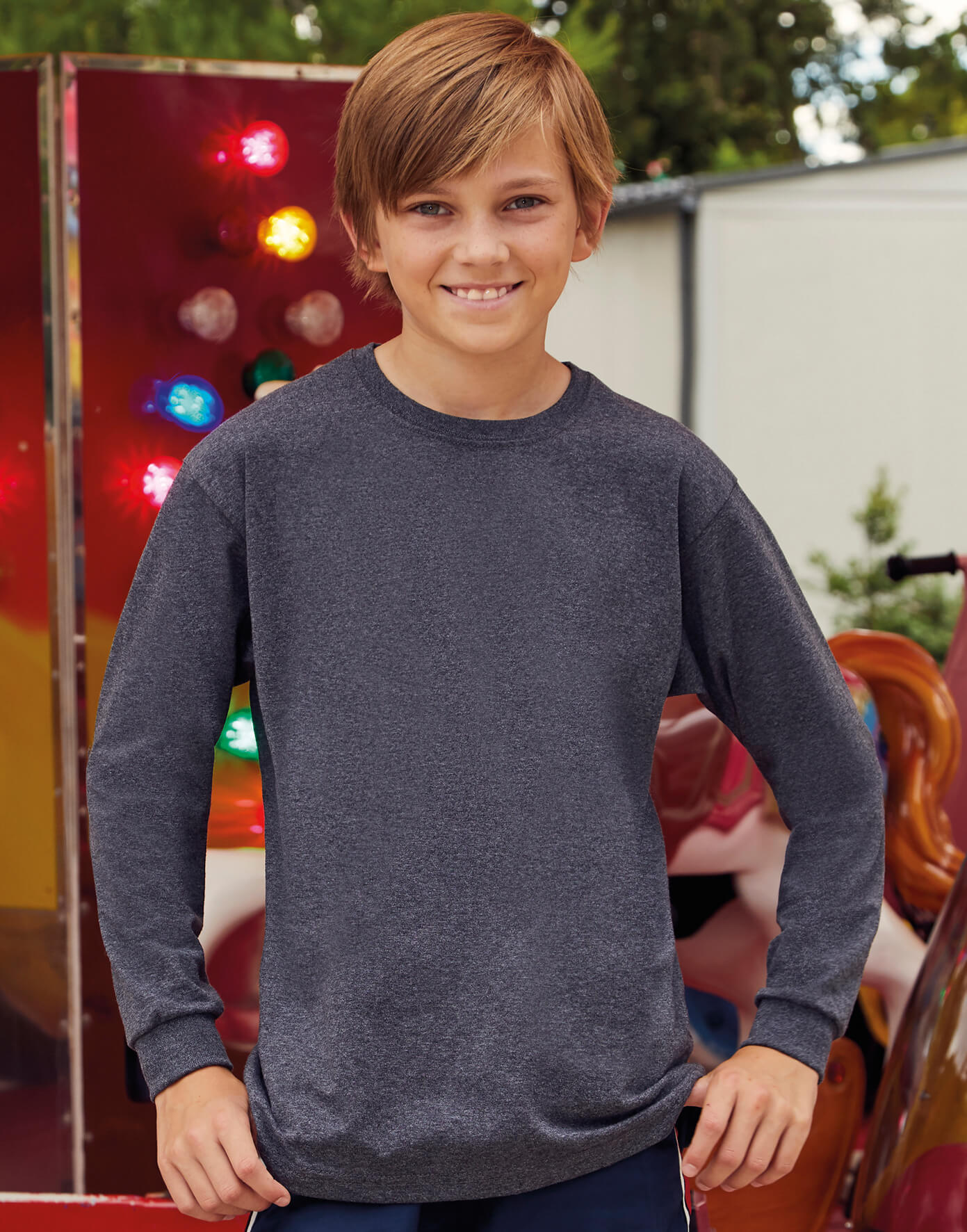 61-007-0 Detské tričko Valueweight s dlhými rukávmi
